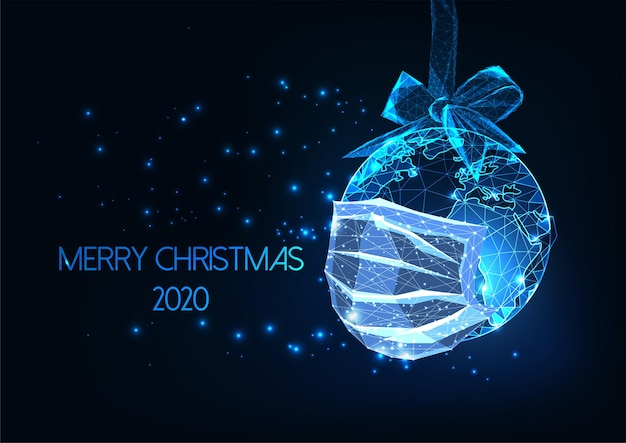 Modello di banner web digitale futuristico pandemia natale 2020 con globo di terra poligonale basso incandescente con maschera medica su sfondo blu scuro. moderna struttura in filo metallico.