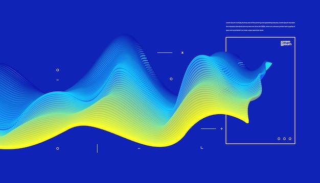 Fondo futuristico dell'onda della particella con l'elemento concettuale
