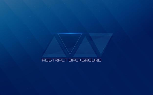 Modello futuristico di linee e triangolo su sfondo blu
