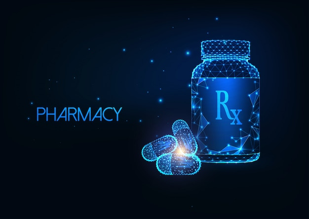 Concetto di farmacia futuristica con contenitore di medicamento poligonale basso incandescente e capsule capsule.