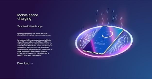 Il telefono futuristico viene caricato in modalità wireless su sfondo blu. ricarica senza fili. ricarica wireless della batteria dello smartphone.