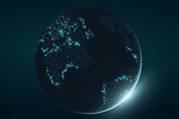 Pianeta terra futuristico. mappa incandescente di punti quadrati. connessione di rete globale