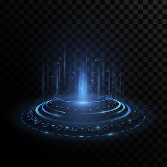 Ologramma portale futuristico con elementi dell'interfaccia hud su sfondo trasparente.