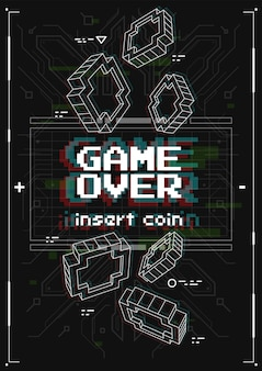 Poster futuristico con elementi di giochi retrò. game over screen con stile di realtà virtuale. modello per la stampa e il web.