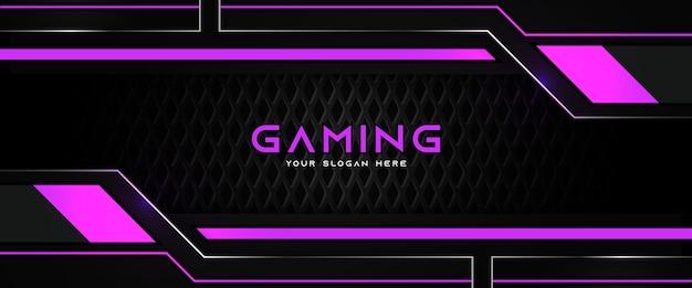 Modello di banner di social media intestazione di gioco futuristico viola e nero