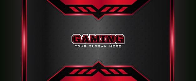 Modello di banner di gioco futuristico rosso e nero