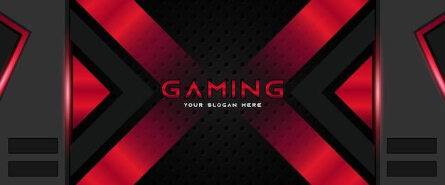 Modello di banner di social media intestazione di gioco futuristico rosso e nero