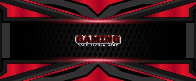 Modello futuristico di banner per social media con intestazione di gioco rossa e nera