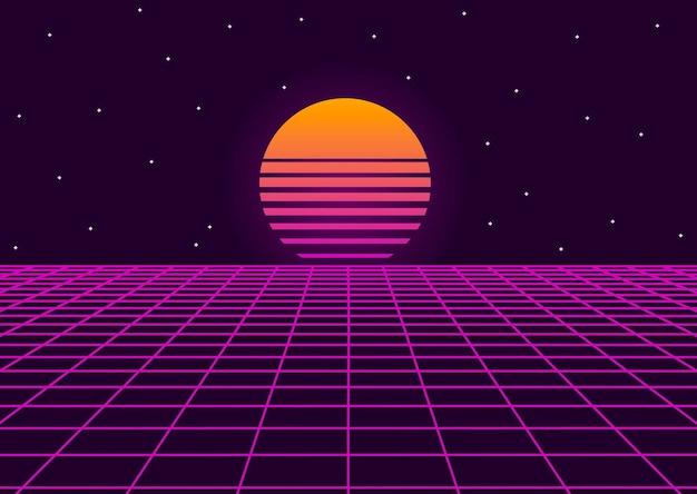 Paesaggio retrò futuristico con griglia geometrica al neon