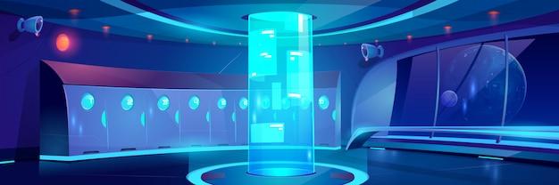 Interno futuristico del corridoio della scuola di notte