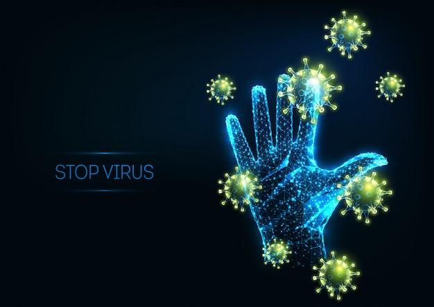 Virus stop futuristico con cellule poligonali incandescenti e mano umana sollevata