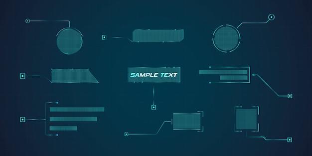Hud di callout leader in stile futuristico. modelli digitali moderni applicabili per il layout del telaio. chiamate di informazione e frecce. l'interfaccia degli elementi del set grafico.