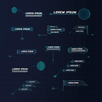 Callout leader di stile futuristico hud. modelli digitali moderni applicabili per il layout della cornice. chiamate informative e frecce. l'interfaccia degli elementi del set grafico.