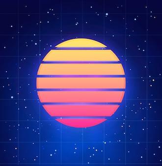 Illustrazione futuristica di tramonto nel retro stile. vaporwave, modello astratto synthwave con cielo stellato