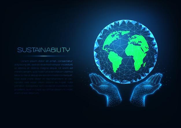Tecnologia di sostenibilità futuristica con mani umane basse poli incandescente che tengono il pianeta terra verde