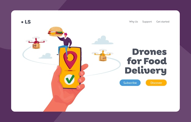 Tecnologie futuristiche nel modello di pagina di destinazione del servizio di posta e spedizione