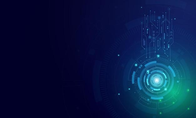 Modello astratto di tecnologia futuristica, interfacce utente virtuali innovative, hud, sfondo della velocità della freccia