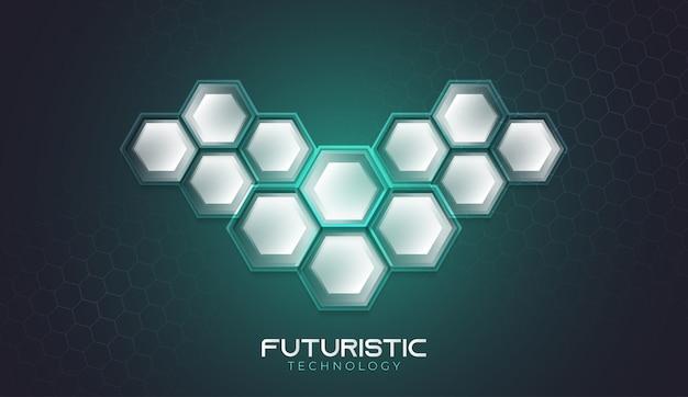 Tecnologia futuristica sfondo con motivi esagonali
