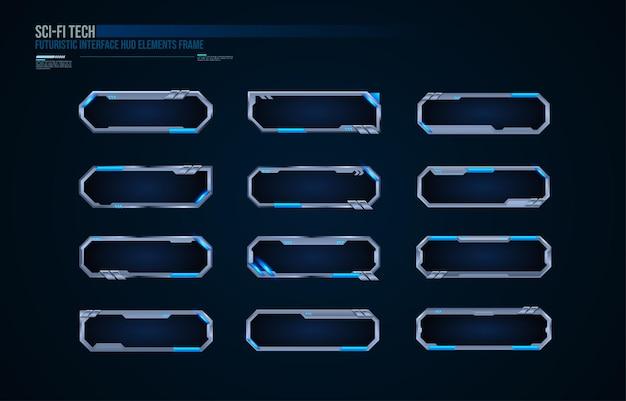 La tecnologia futuristica incornicia l'interfaccia di design dell'elemento hud per i giochi dell'interfaccia utente