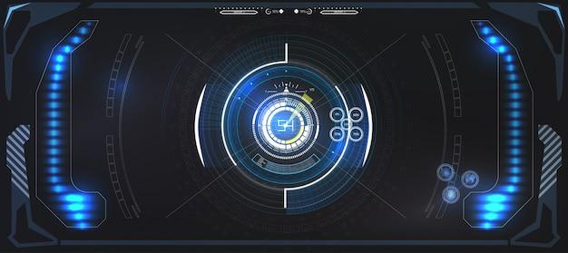 Tecnologia futuristica schermo hud. visualizzazione tattica dislpay di fantascienza vr. interfaccia utente hud. design futuristico del display head-up vr. schermata della tecnologia della realtà vitale.