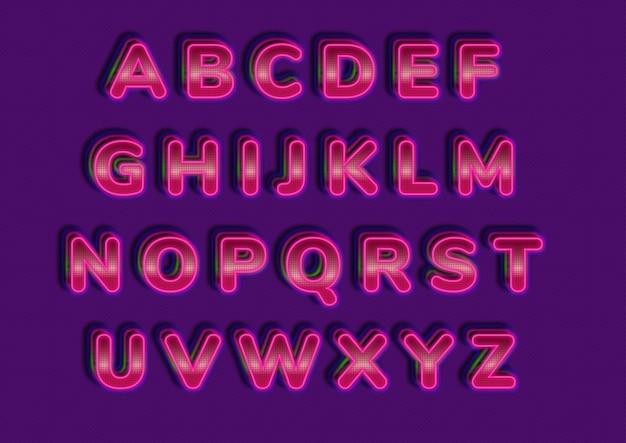 Set di alfabeti stile tecnologia futuristica