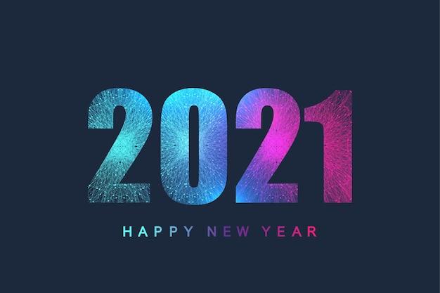 Design futuristico del testo del modello di tecnologia natale e felice anno nuovo 2021.