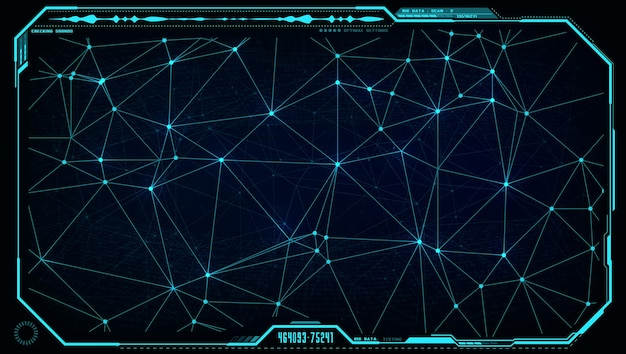 Futuristica ui hud big data network in display digitale o interfaccia monitor schermo.