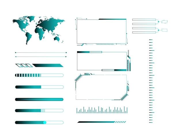 Insieme di vettore di elementi dell'interfaccia utente futuristico.