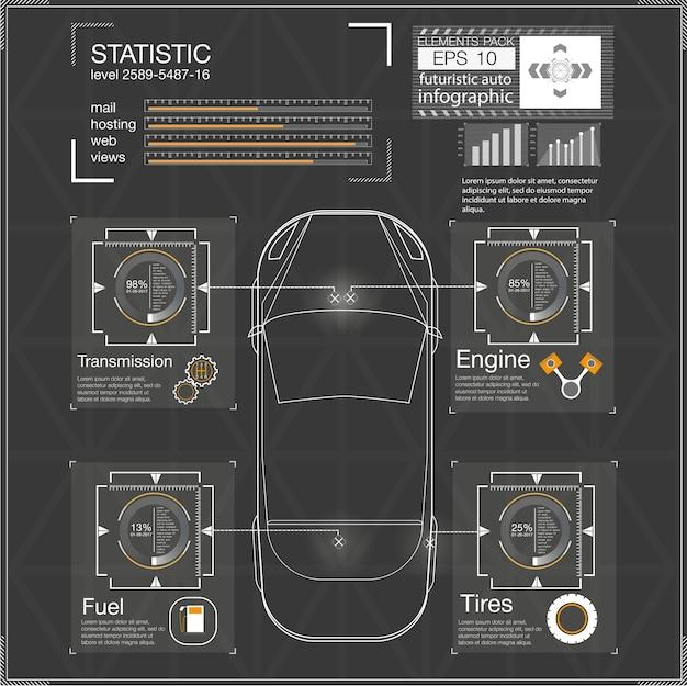 Interfaccia utente futuristica. hud ui. interfaccia utente astratta touch. infografica di automobili. astratto di scienza. illustrazione.