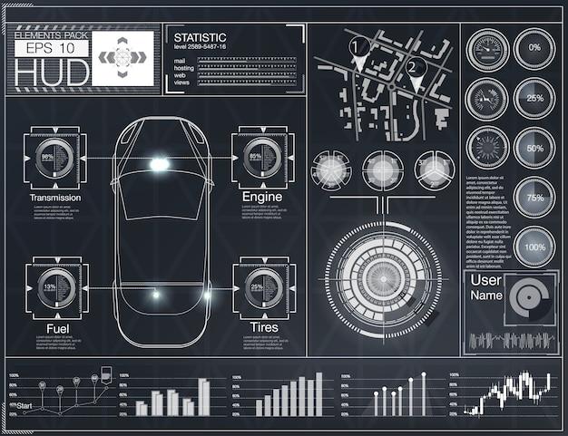 Interfaccia utente futuristica. hud ui. interfaccia utente di tocco grafico virtuale astratto. infografica di automobili. astratto di scienza. illustrazione.