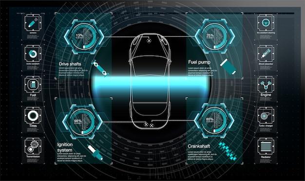 Interfaccia utente futuristica. hud ui. interfaccia utente di tocco grafico virtuale astratto.