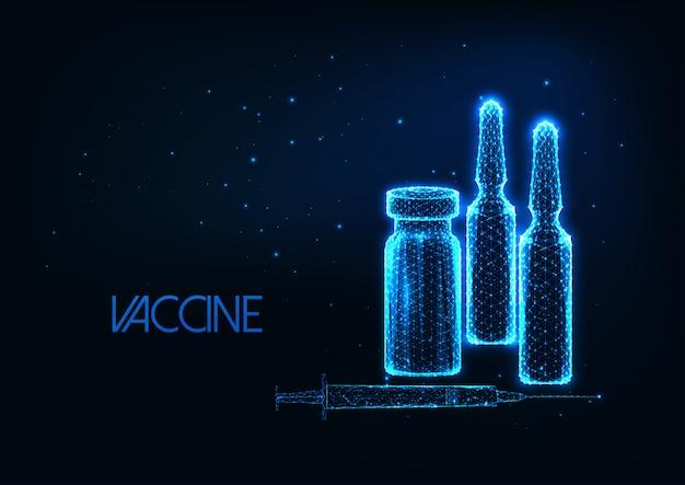Concetto futuristico di ricerca del vaccino con ampolle poligonali basse d'ardore, siringa su blu scuro.