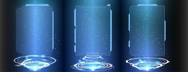 Design futuristico dello schermo dell'interfaccia hud vettoriale. titoli di callout digitali. set di elementi dello schermo dell'interfaccia utente futuristica della gui dell'interfaccia utente hud. schermo ad alta tecnologia per videogiochi. concetto di fantascienza.