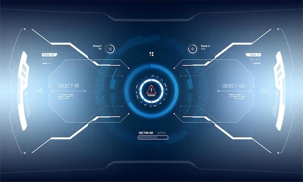 Design futuristico dello schermo dell'interfaccia hud di vettore. visualizzazione della tecnologia di realtà virtuale fantascientifica