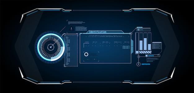 Design futuristico dello schermo dell'interfaccia hud di vettore.