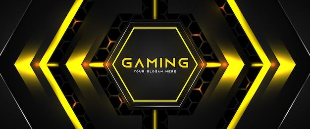 Modello di banner di social media intestazione di gioco futuristico giallo e nero