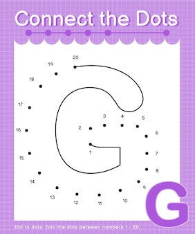 Alfabeto g collega i punti contando i numeri punto per punto giochi per bambini