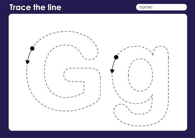 Lettera dell'alfabeto g su foglio di lavoro prescolare tracciato linee