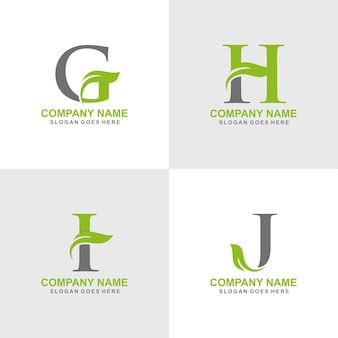 Set logo iniziale foglia g, h, i, j