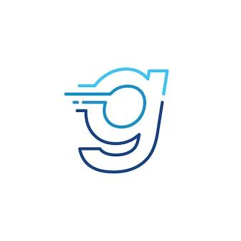 G lettera trattino minuscolo tecnologia digitale veloce consegna rapida movimento linea contorno monoline logo blu vettore icona illustrazione