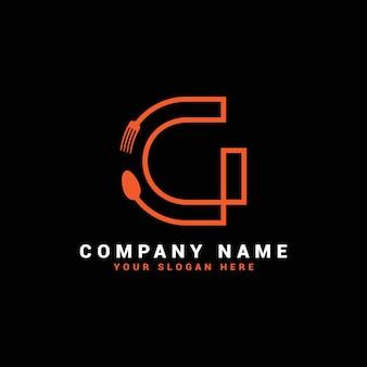 Logo della lettera g, logo della lettera del cibo g, logo della lettera del cucchiaio g
