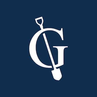 G lettera pala vanga logo icona vettore illustrazione