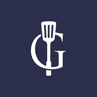 G lettera spatola cucina ristorante chef logo icona vettore illustrazione