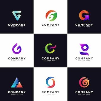 Collezione logo g, loghi lettera g maiuscola società gradiente