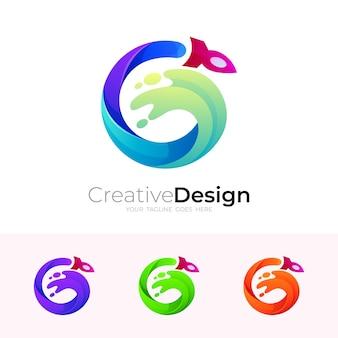 G logo e combinazione di design a razzo, icona swoosh, 3d colorato