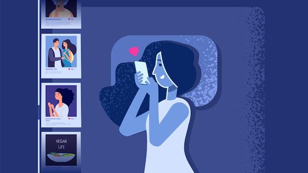 Problema di dipendenza da gadget. ragazza piatta a letto con lo smartphone. donna alla ricerca di social media foto notte sonno illustrazione vettoriale. dipendenza dai social media, problema di insonnia moderna, donna con gadget