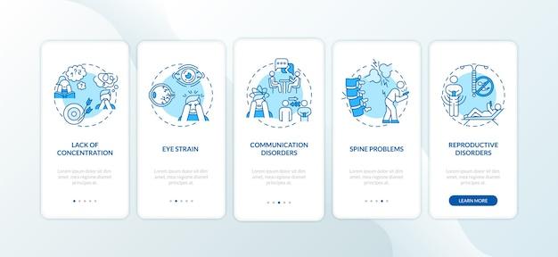 Sintomi di dipendenza da gadget onboarding schermata della pagina dell'app mobile con concetti