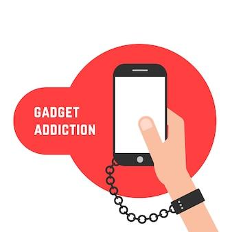 Dipendenza da gadget con telefono e catena