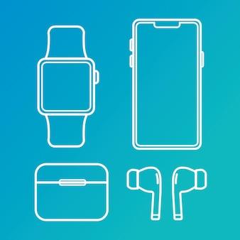 Icone di gadget. set di icone di contorno vettoriale di gadget