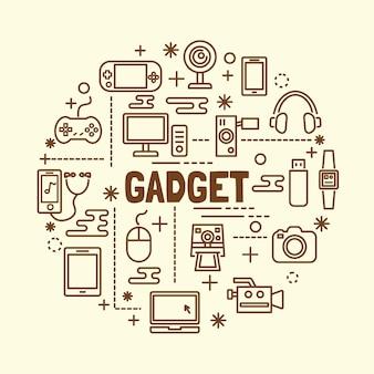 Set di icone di sottile linea minimale gadget